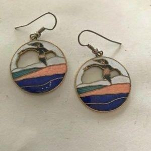 Seagull Earrings Hooks Cloisonne Beach Island VTG